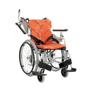 アルミ自走車いす 高床タイプ スイングアウト式 オプションフレーム:レッド / AYO24-42-47 No.47 1台
