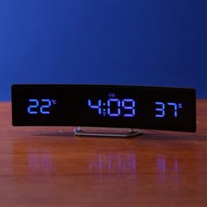 【送料無料】置き時計「IDEA LABEL」電波カーブLEDクロック(ブラック×ブルー)【電波時計 置時計 電波時計 温度 湿度】 furo