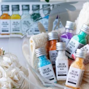 ■商品説明: ブルターニュの自然塩に天然エッセンシャルオイルや植物保湿成分配合のカラフルなバスソルト...