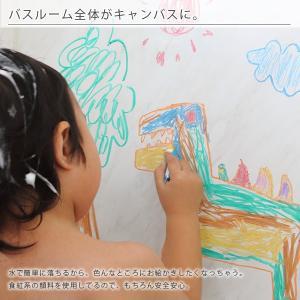 お風呂クレヨン/おふろdeキットパス・6色+ネットセット(クレヨン6色(赤・緑・青・ピンク・黄・紫)、スポンジ、ネット、吸盤)【国産 日本製 クレヨン】 furo 05