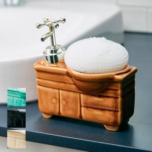 ソープディスペンサー「bathroom-sink(バスルームシンク)」【詰め替えボトル ハンドソープ ディスペンサー 液体ソープ シンク型 可愛い 陶器 泡立てネット】|furo