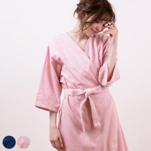 【送料無料】バスローブ/エアリーバスローブ【ママ バスローブ レディース 綿100 女性 七分袖 タオル地 軽量 ピンク ネイビー Mサイズ おしゃれ かわいい】|furo