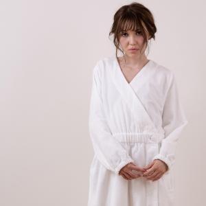 【送料無料】バスローブ/やわらかボタンバスローブ(ホワイト)[RRZ13007]【ママ バスローブ レディース 綿100 女性 タオル地 軽量 Mサイズ おしゃれ】|furo