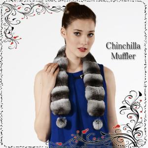 【チンチラマフラー専門店】チンチラマフラーボンボン付き(C-0060)SALE☆チンチラファー ティペット
