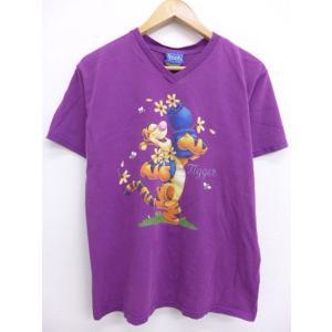 古着 レディース Tシャツ ディズニー DISNEY くまのプーさん ティガー 紫 パープル 19j...