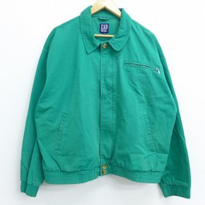 XL/古着 長袖 ジャケット 90s ギャップ GAP 大きいサイズ コットン 緑 グリーン 20m...