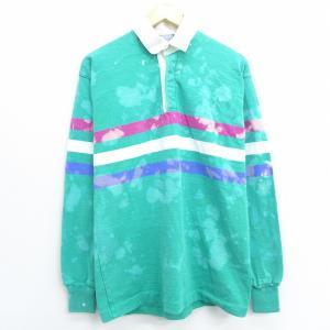 S/古着 長袖 ブランド ラガー シャツ 90s ランズエンド コットン 青緑 ブリーチ加工 20o...