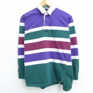 M/古着 長袖 ブランド ラガー シャツ 90s マンシングウェア コットン 緑他 グリーン ボーダ...