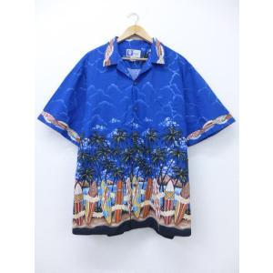 XL/古着 ハワイアン シャツ サーフボード ヤシの木 大きいサイズ 青 ブルー 19jul10 中...