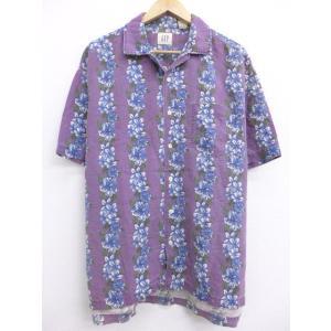 XL/古着 ハワイアン シャツ ギャップ GAP ハイビスカス リネン 紫 パープル 19jul24...