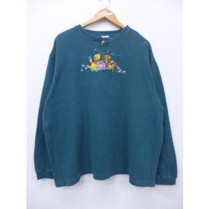 XL/古着 長袖 トップス ディズニー DISNEY くまのプーさん イーヨー ティガー 刺繍 緑系...