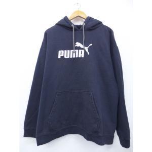 XL/古着 長袖 ブランド スウェット パーカー プーマ puma ビッグロゴ 黒 ブラック 19n...