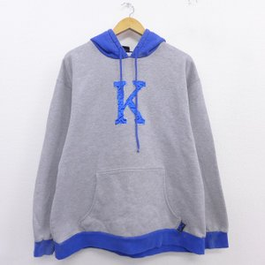 XL/古着 長袖 スウェット パーカー 00s ナイキ NIKE K ケンタッキー 刺繍 グレー 霜...