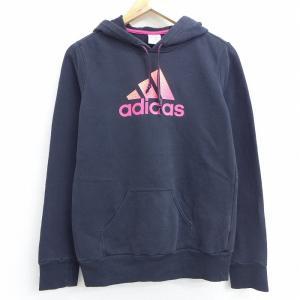 S/古着 長袖 スウェット パーカー アディダス adidas ビッグロゴ 黒 ブラック 21mar...
