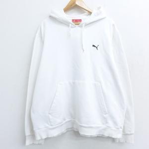 XL/古着 長袖 スウェット パーカー プーマ puma ワンポイントロゴ 大きいサイズ 白 ホワイ...