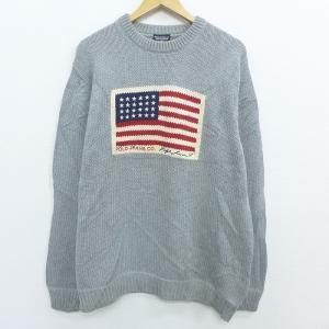 XL/古着 長袖 ブランド セーター ラルフローレン Ralph Lauren ポロジーンズ 星条旗...