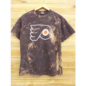 M/古着 Tシャツ NHL フィラデルフィアフライヤーズ 茶 ブラウン タイダイ アイスホッケー 1...