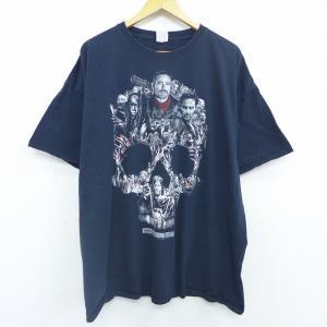 XL/古着 半袖 Tシャツ 映画 ウォーキングデッド 大きいサイズ コットン クルーネック 黒 ブラ...