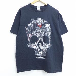 XL/古着 半袖 Tシャツ 映画 ウォーキングデッド スカル コットン クルーネック 黒 ブラック ...