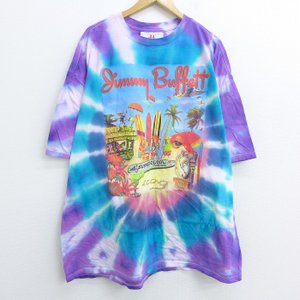 XL/古着 半袖 Tシャツ ジミーバフェット 鳥 サーフボード 海賊 スカル 大きいサイズ ロング丈...