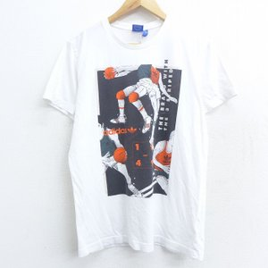 L/古着 半袖 ブランド Tシャツ アディダス adidas リーフ トレフォイル バスケットボール...