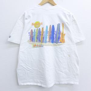 XL/古着 半袖 ビンテージ Tシャツ 90s ハードロックカフェ マウイ サーフボード コットン ...