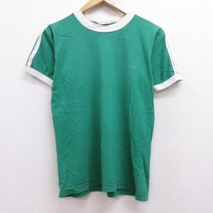 M/古着 半袖 ビンテージ Tシャツ 80s アディダス adidas ワンポイントロゴ リーフ ト...