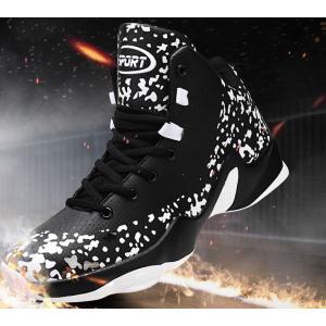 メンズ ハイカット スニーカー 靴 バッシュ バスケットシューズ ストリートファッション  ブラック レッド 赤 黒 ドット 冬