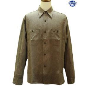バズリクソンズ Buzz Rickson's モックツイストシャンブレー・長袖ワークシャツ【BR26082】138番色(ブラウン)|furutaka