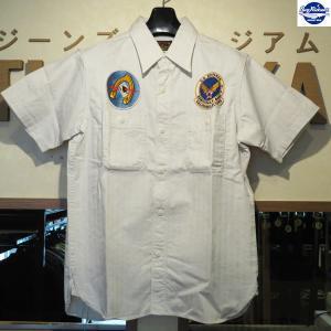 バズリクソンズ Buzz Rickson's ヘリンボーンツイル SQUADRON REUNION 半袖シャツ【BR37566】105番色(オフホワイト)|furutaka