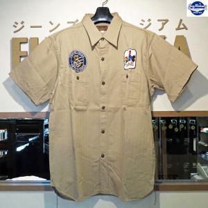 バズリクソンズ Buzz Rickson's ヘリンボーンツイル SQUADRON REUNION 半袖シャツ【BR37566】135番色(カーキ)|furutaka