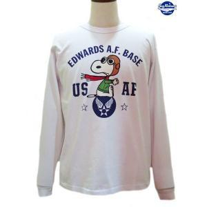 バズリクソンズ スヌーピーTシャツ Buzz Rickson's × PEANUTS USAF 長袖Tシャツ【BR68123】101番色(ホワイト) furutaka