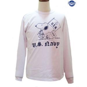 バズリクソンズ スヌーピーTシャツ Buzz Rickson's × PEANUTS U.S.NAVY 長袖Tシャツ【BR68125】101番色(ホワイト) furutaka