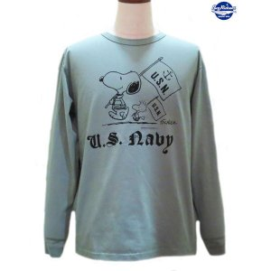 バズリクソンズ スヌーピーTシャツ Buzz Rickson's × PEANUTS U.S.NAVY 長袖Tシャツ【BR68125】148番色(セージグリーン) furutaka