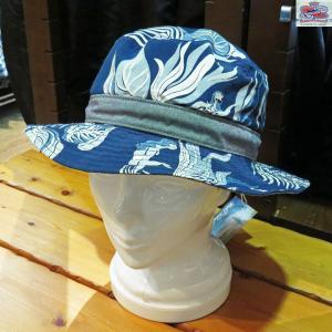 デュークカハナモク DUKE KAHANAMOKE INDIGO SACRED GARDEN コットンレーヨン・リバーシブルハット【DK02484】128番色(ネイビー)|furutaka