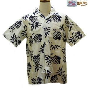 【売切れ】DUKE KAHANAMOKE/デュークパイナップル・半袖ハワイアンシャツ MADE IN USA・DK36074/101番色(ホワイト)|furutaka