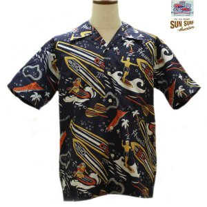 デュークカハナモク アロハシャツ DUKE KAHANAMOKE DUKE'S SURFBOADS コットン半袖オープンシャツ【DK37485】128番色(ネイビー)|furutaka