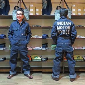 Indian Motorcycle(インディアンモーターサイクル)×HEADLIGHT(ヘッドライト) 11オンスデニム・オールインワン【IM13840】ワンウォッシュ|furutaka