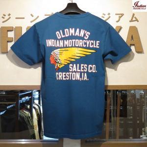 インディアンモーターサイクル Indian Motorcycle OLDMAN'S SALES CO. 半袖Tシャツ【IM78262】125番色(ブルー) furutaka