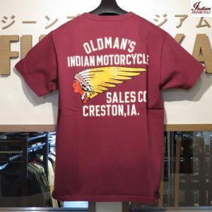 インディアンモーターサイクル Indian Motorcycle OLDMAN'S SALES CO. 半袖Tシャツ【IM78262】170番色(ワイン) furutaka