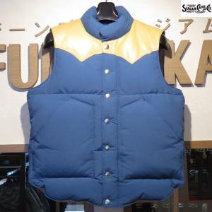 SALE/シュガーケーン/Sugar Cane/レザーヨーク・ダウンベスト【SC12340】125番色(ブルー×キャメル)|furutaka
