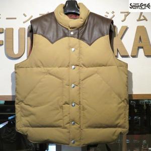 新価格 シュガーケーン Sugar Cane レザーヨーク・ダウンベスト【SC12340】133番色(ベージュ×ブラウン)|furutaka