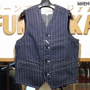 シュガーケーン Sugar Cane 9オンス・ウォバッシュストライプ・ワークベスト【SC12654】421番色(ワンウォッシュ)|furutaka
