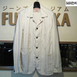 シュガーケーン Sugar Cane FICTION ROMANS 8オンス・オフツイルストライプ・ワークコート【SC14087】401番色(ホワイト・ワンウォッシュ)|furutaka