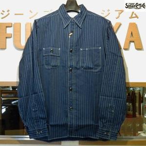 シュガーケーン Sugar Cane FICTION ROMANS 8.5オンス・ウォバッシュストライプ・ワークシャツ【SC25551A】421番色(ワンウォッシュ)|furutaka