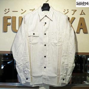 シュガーケーン Sugar Cane FICTION ROMANS 8.5オンス・ホワイトウォバッシュワークシャツ【SC27076】401番色(ホワイト、ワンウォッシュ)|furutaka