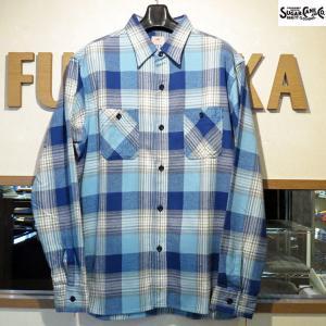シュガーケーン ネルシャツ Sugar Cane ツイルチェック長袖ワークシャツ【SC27705】125番色(ブルー)|furutaka