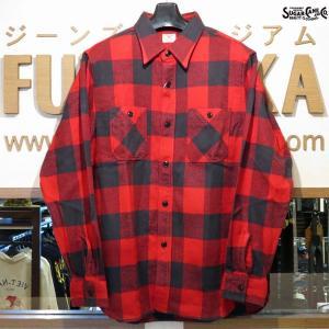 シュガーケーン ネルシャツ Sugar Cane ツイルチェック長袖ワークシャツ【SC27963】165番色(レッド)|furutaka