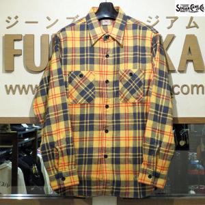 シュガーケーン ネルシャツ Sugar Cane ツイルチェック長袖ワークシャツ【SC27966】155番色(イエロー)|furutaka