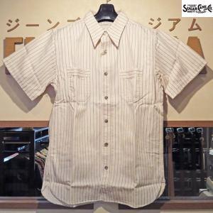 シュガーケーン Sugar Cane FICTION ROMANS 8.5オンス・ホワイトウォバッシュ半袖ワークシャツ【SC37275】401番色(ホワイト、ワンウォッシュ)|furutaka